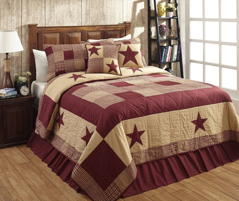 California King Jamestown Burgundy And Tan Quilt Set - 3 Piece