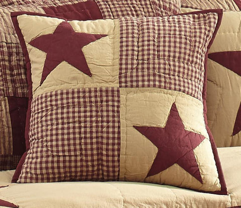 Jamestown Burgundy and Tan Quilted Pillow Cover