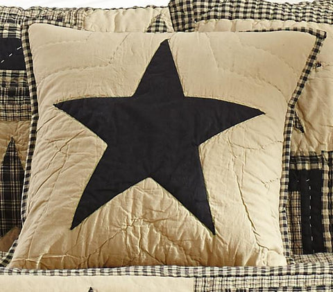 Black and Tan Quilted Star Pillow Cover