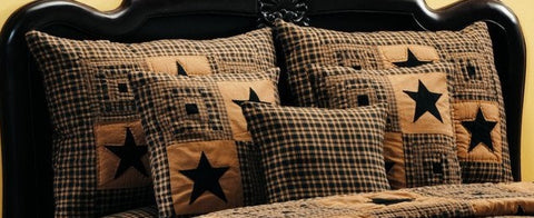 Vintage Star Black and Tan Sham - King Size