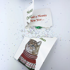 Merry Christmas Card - Endless Meowing With Glitter