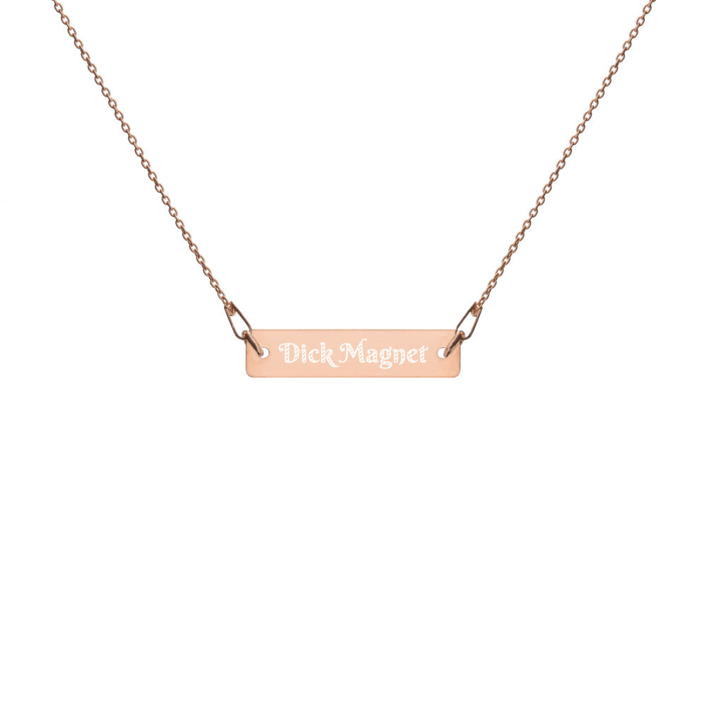 Dick Magnet Engraved Silver Bar Chain Necklace