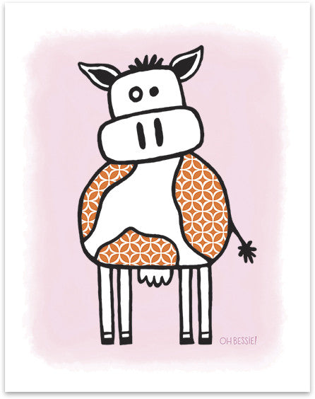 "11"" x 14"" ""Cow"" printed with pigment ink giclee print on artist quality cotton rag paper. Colorway 1."