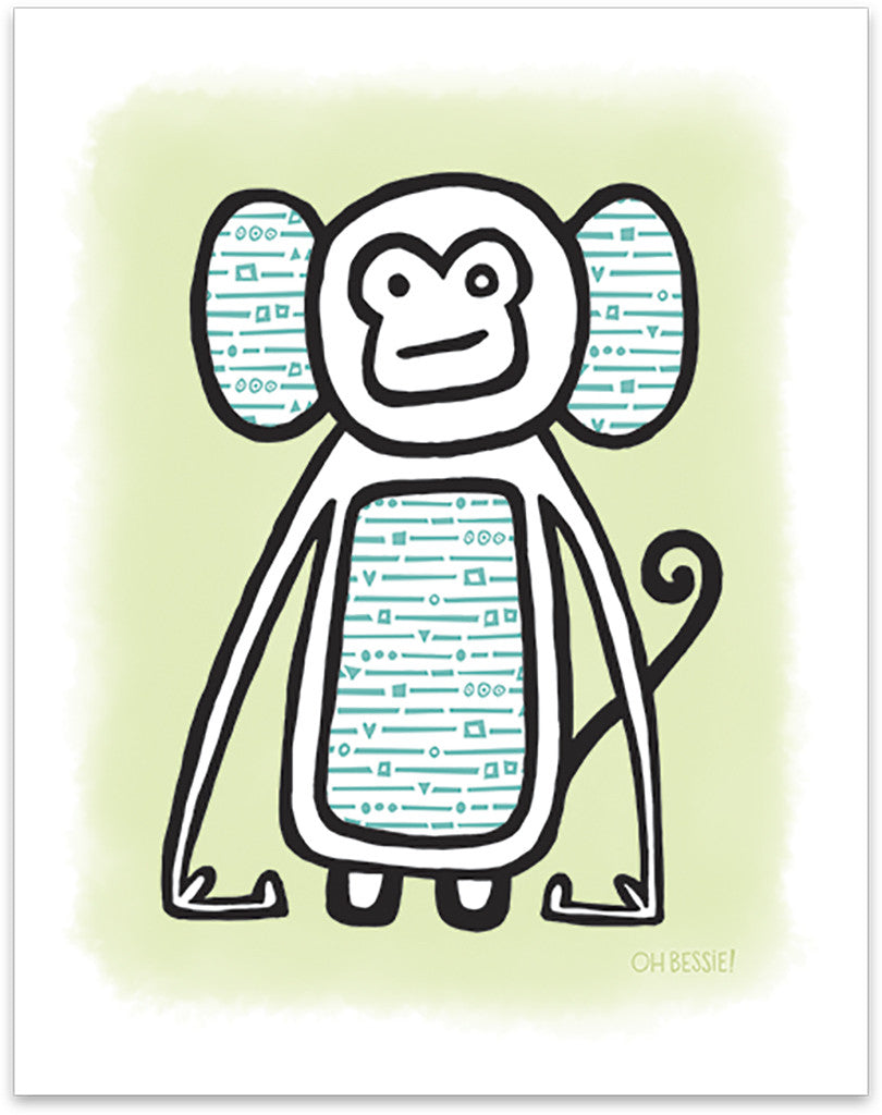 """Monkey"" printed with pigment ink giclee print. Colorway 1."
