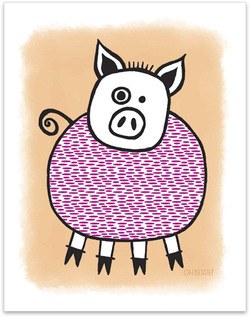 "11"" x 14"" ""Piggie"" printed with pigment ink giclee print on artist quality cotton rag paper. Colorway 1."