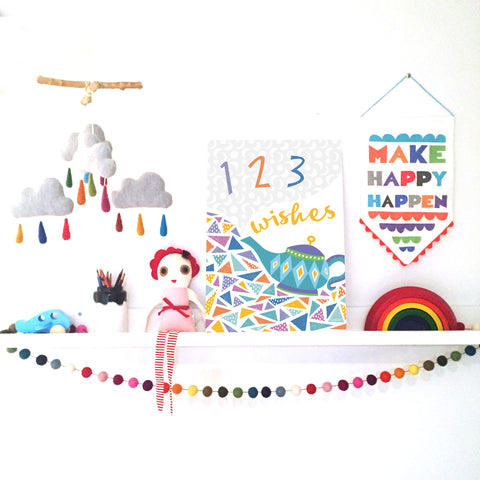 1, 2, 3 Wishes Wall Print
