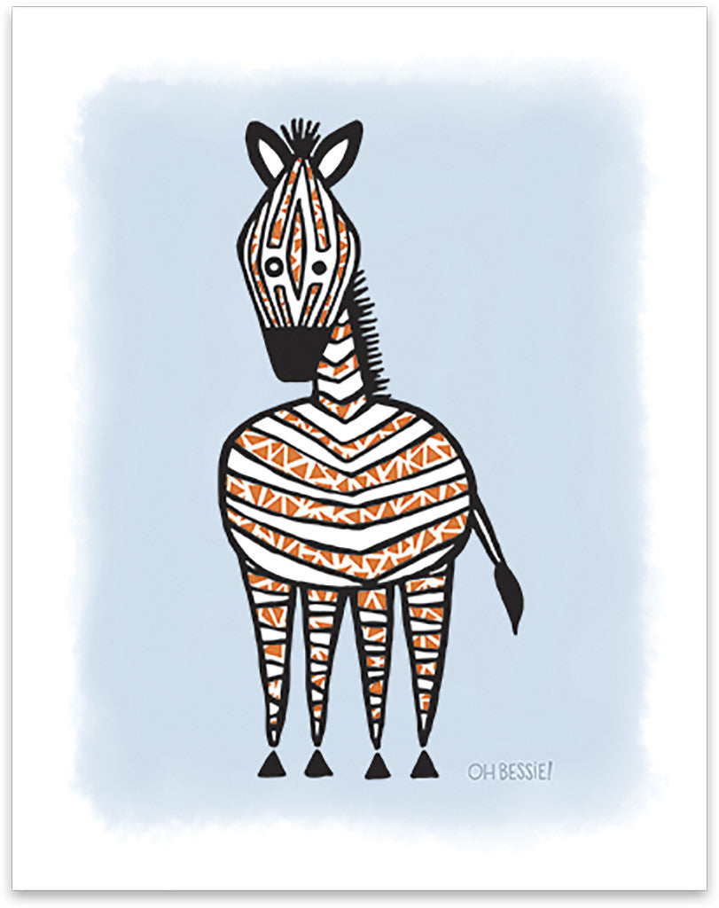 "11"" x 14"" ""Zebra"" printed with pigment ink giclee print on artist quality cotton rag paper. Colorway 1."