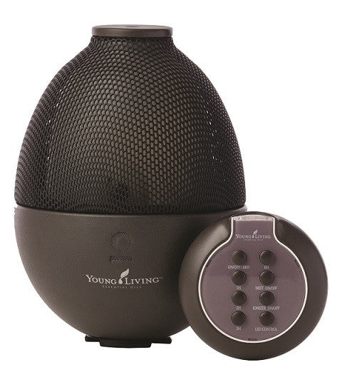 Samala Cosmetics Young Living health and beauty products - Rainstone Diffuser, with continuous ultrasonic diffusion of essential oils benefits and negative ioniser settings