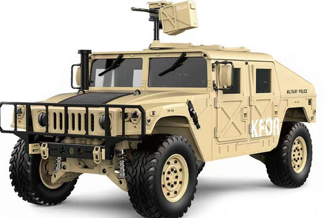 1/10 Humvee 4WD 2.4G 16CH 30+km/h US Military Truck Crawler w/ LED Light & Engine Sound Module ARTR Desert Yellow