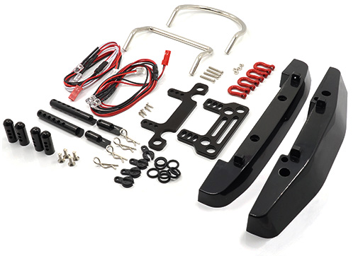 Plastic Front Rear Bumper w/ Heavy Duty Shackle w/ LED Set For Axial SCX10