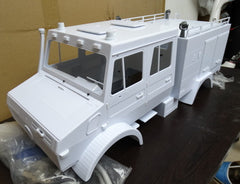 Mercedes-Benz Unimog Double Cab 1/10 Scale 4x4 FIRE TRUCK Plastic Body
