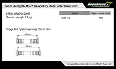 BADASS™ Heavy Duty Steel Center Drive Shaft 51-56mm (Pin to Pin) 1Pc [Recon G6 Certified]