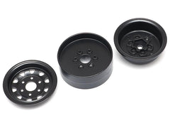 1.9 High Mass Steelie 6 Lug Beadlock Wheels Type A (2) Black