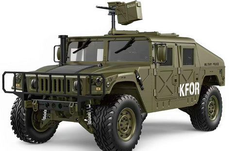 1/10 Humvee 4WD 2.4G 16CH 30+km/h US Military Truck Crawler w/ LED & Engine Sound Module ARTR Green