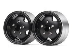 1.9 Alloy Beadlock Wheels for TRX4 Defender & TRC Rover SUV First Gen Black (Pair)