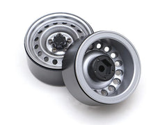 "1.9"" 16-Hole Classic Steelie Reversible Beadlock Wheel w/XT504 Hub Rear (2) Gun Metal"