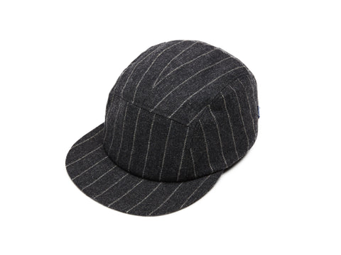 Grey Chalkstripes Merino 5 Panel