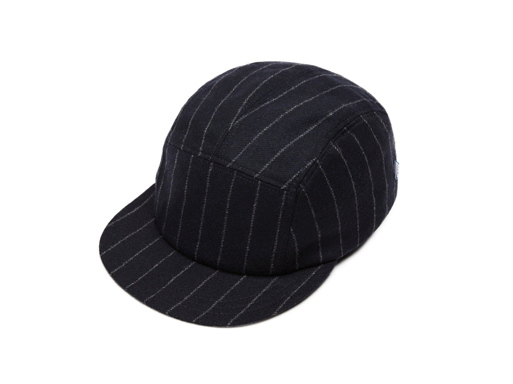 Navy Chalkstripes Merino 5 Panel