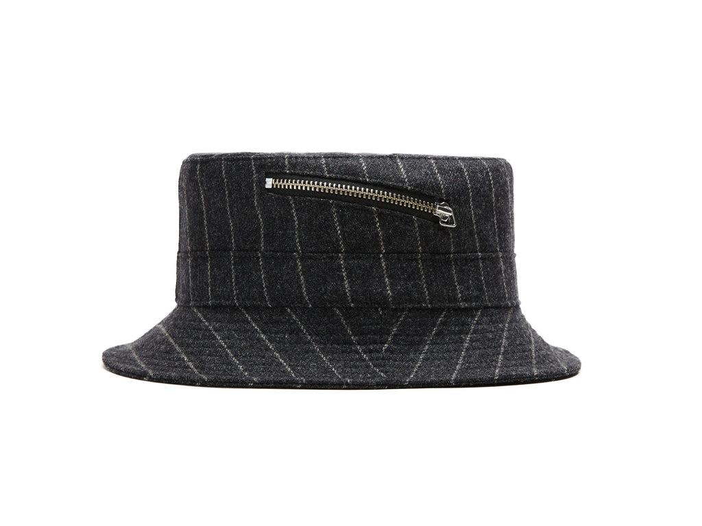 Grey Chalkstripes Zip Bucket Hat