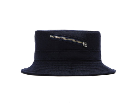 Navy Zip Bucket Hat