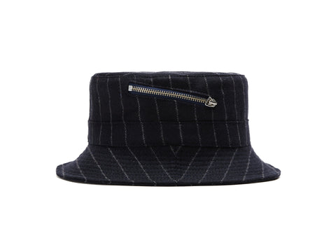 Navy Chalkstripes Zip Bucket Hat