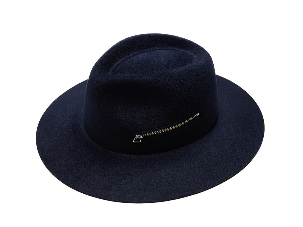 Navy Zip Fedora