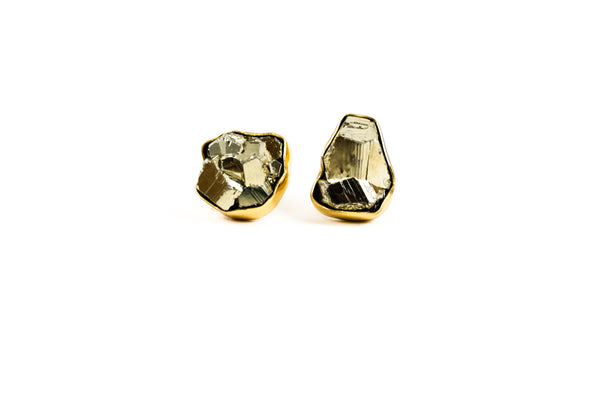 Raw Pyrite Post Earrings