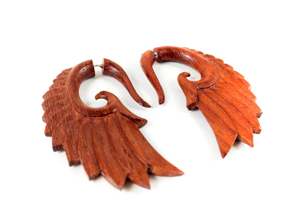 Wooden Wing Earrings