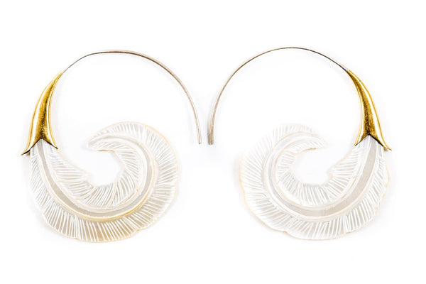 Shell Feather Hoops