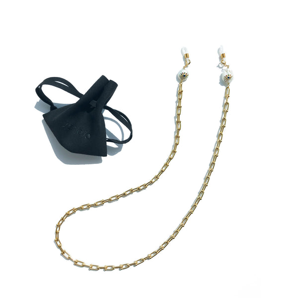 ADJNA Eye Pearl Gold Sunglasses Chain