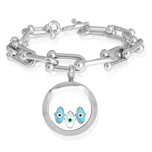 FATIMA Baby Floating Evil Eye Charms Bracelet