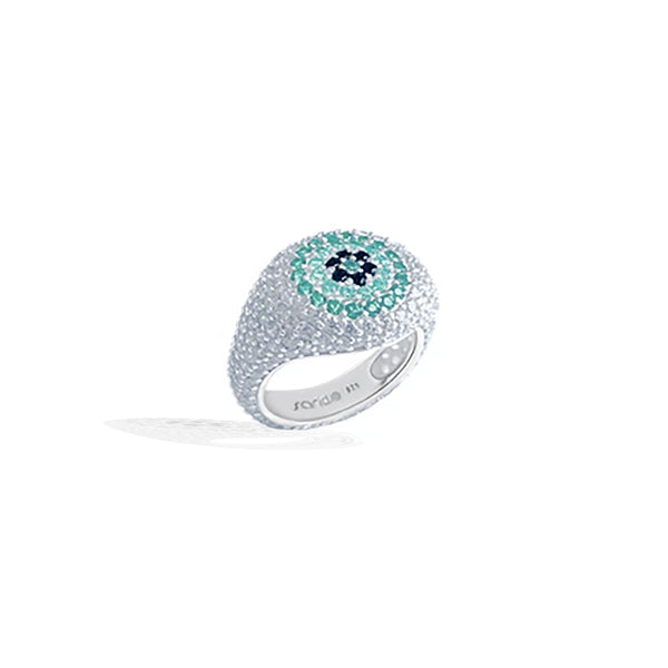 HALI Green Evil Eye Pave Pinky Ring