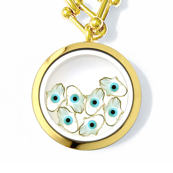 FATIMA Floating White Evil Eye Charms Necklace