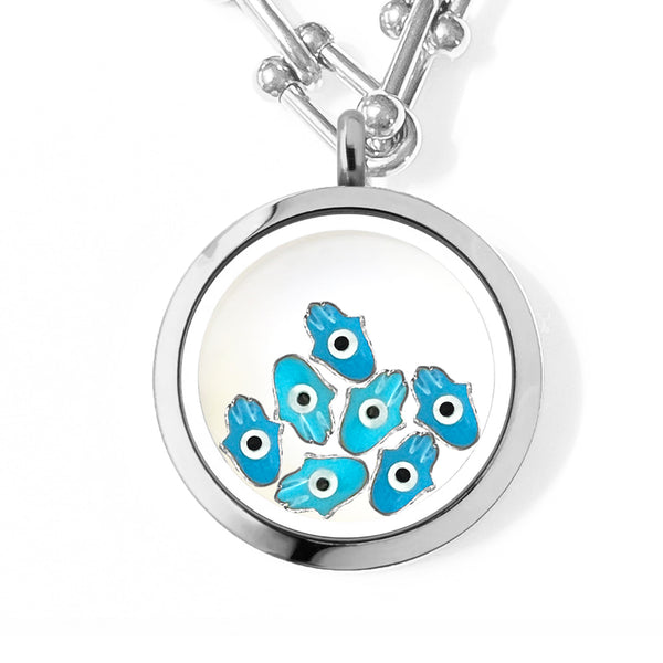 FATIMA Floating Evil Eye Charms Necklace