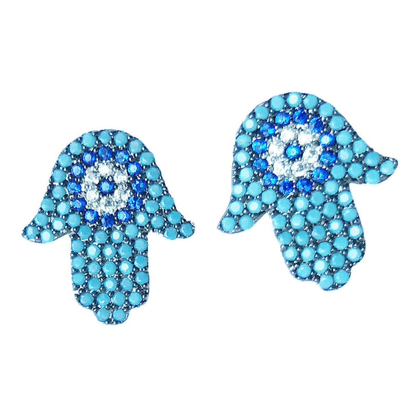 JAMILA TURQUOISE HAMSA EARRINGS
