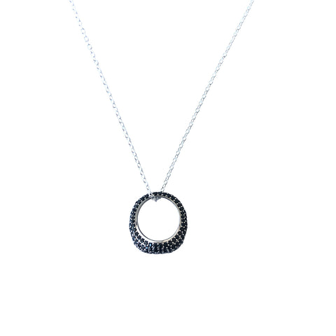 KIRAN Black Pave Ring Necklace