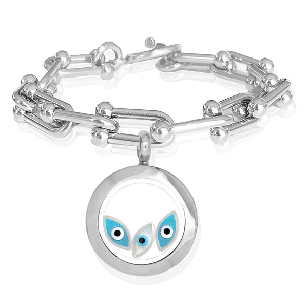 MIRIAM Floating Evil Eye Charms Bracelet