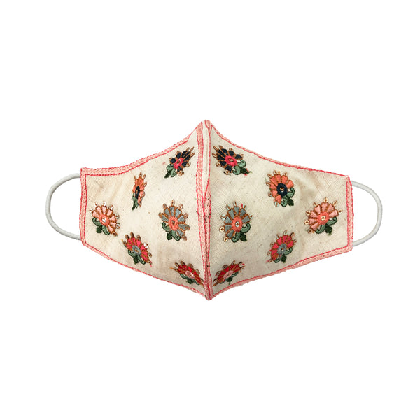PRIYA Embroidered Flowers Embellished Face Mask