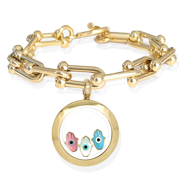 FATIMA Twins Floating Evil Eye Charms Bracelet