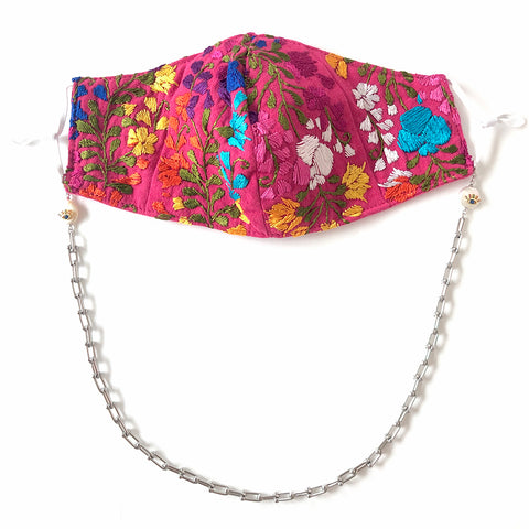 YARELI Flowers Fuchsia Embroidered Face Mask