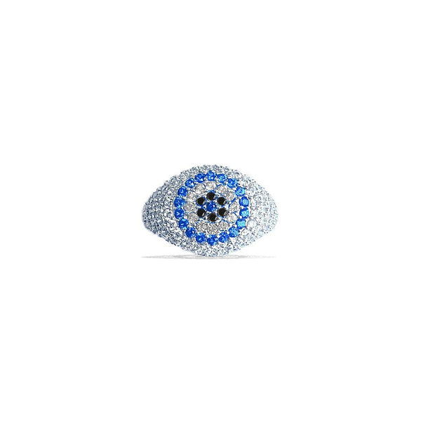 ZAYRA Blue Pave Evil Eye Pinky Ring