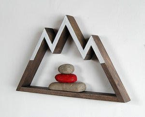Snowy Peaks Mountain Shelf / Wall Hanging Art (small)