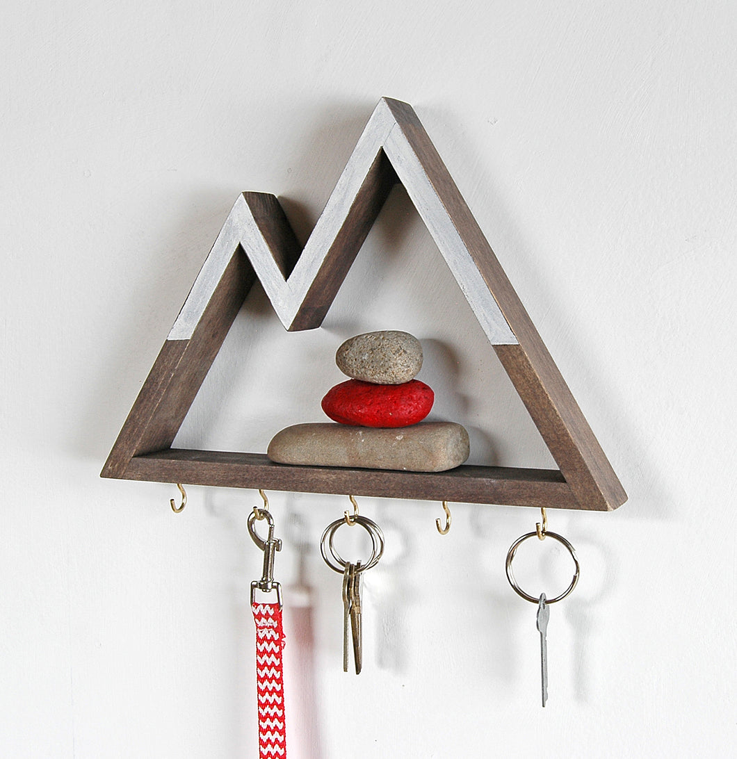 Snowy Peaks Mountain Key Rack and Entryway Organizer 1.5 Inch Shelf