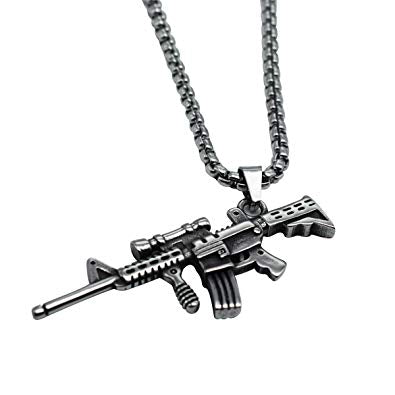 M4 assault rifle stainless steel necklace antique finish
