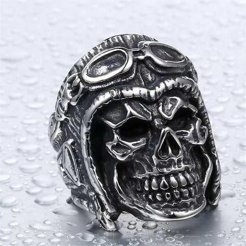 Stainless steel pilot skull ring