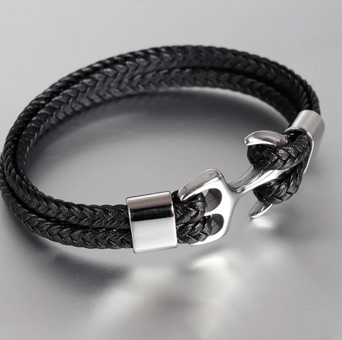 2 STRAP LEATHER BRACELET STAINLESS STEEL MODERN ANCHOR BLACK