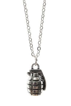Antique finish grenade necklace