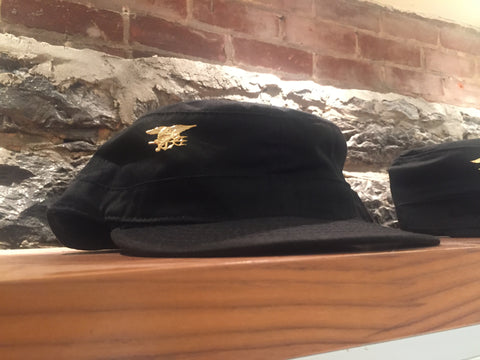 MILITARY CAP BLACK WITH GOLD TRIDENT