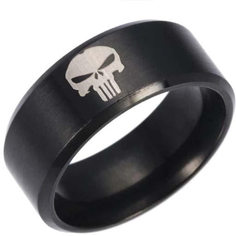Black stainless steel punisher ring
