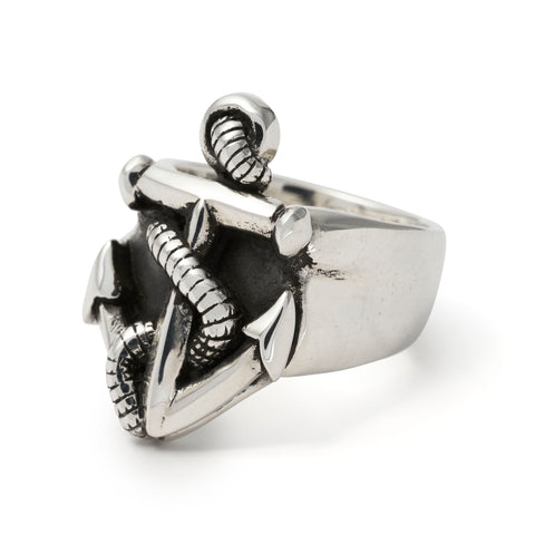 ANCHOR AND ROPE RING STAINLESS STEEL